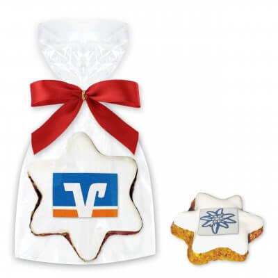 Premium cinammon star cookie incl. logo - single packed