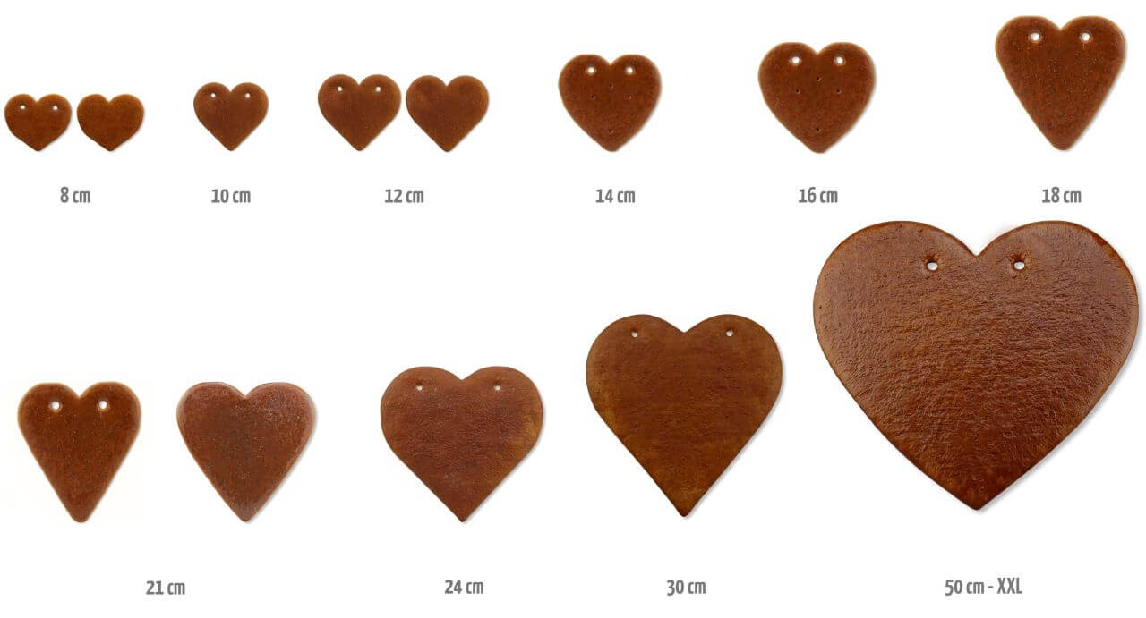 Blank Gingerbread Hearts Sizes