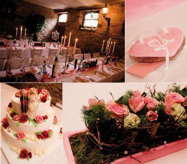 Ein Beispiel einer gelungenen Hochzeits-Tischdekoration mit unseren Lebkuchenherz Tischkarten