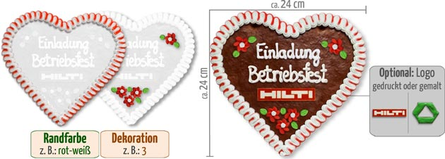 Promotional gift gingerbread heart 24cm